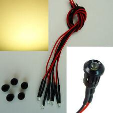 5 Stück LED 3mm Warmweiß Kunststoff-Fassung Halter 9V - 12V Verkabelt