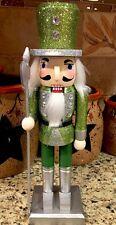 "Green Nutcracker Shimmering 10"" Christmas Table Top Centerpiece Tree Gift Silver"