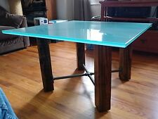 Frosted glass top coffee table w/ rustic wood and pipe base