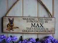 DOG WARNING SIGN BEWARE OF THE DOG GERMAN SHEPHERD OWN NAME SIGN OWN WORDING DOG