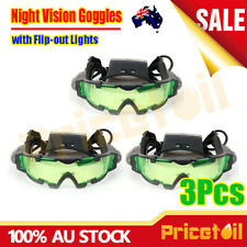 3Pcs Adjustable LED Night Vision Glass Goggles with Filp-out Light Windproof AU