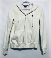 Ralph Lauren Sport Womens Small Ivory Zip Up Hoodie Polo Cotton Pockets