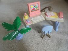 Dollhouse Fisher Price Computer Desk Chair HTF Notebook Pad Pencil 4 Lot Flaw