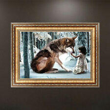 Wolf and Little Girl Diamond Embroidery 5d Diamond DIY Painting Cross Stitch