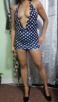 Navy Polka Mini Dress Women's Ladies Girls Short Party Club Micro Mini Dress 506
