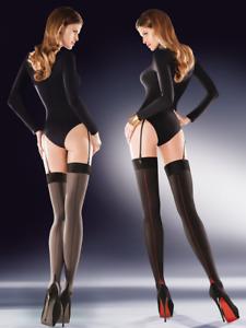 Stockings for Belt with Back Seam Black Grey 50 Denier Hosiery Cruze Gabriella
