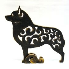 Dog Schipperke without a tail figurine, statuette made of wood (MDF), statue