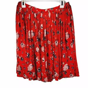 Torrid Plus Size 2 Red Floral Full Mini Skirt 2X Lined Stretch Flare Mesh SK9