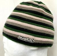 Mental Headgear Mens Beanie Hat Ski Snowboard Striped Green Beige Gray Winter