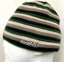 Mental Headgear Mens Beanie Hat Ski Snowboard Striped Green Beige Gray Winter