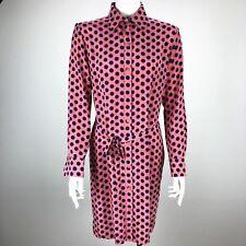 Tucker 100% Silk Polka Dot Button Down Tie Apron Career Dress Pink - Size Medium