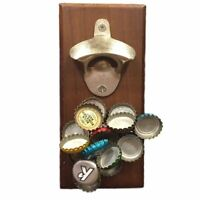 1 x Wood Bottle Opener Magnetic Bottle Opener - Cap Catcher, Wall-Mounted
