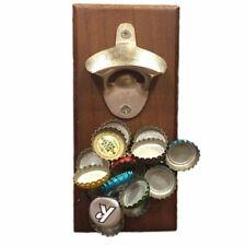 1 x Wood Bottle Opener Magnetic Bottle Opener - Cap Catcher, Wall-Mounted