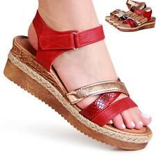 Damen Keilabsatz Sandalen Riemchen Keil Sandaletten Plateau - Sehr Bequem ♥♥♥