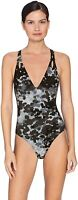 Robin Piccone Women's 182641 Eden V-Neck One Piece Swimsuit Grey Multi Size 10