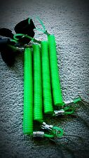 4(Green)Retractable Coiled Kayak Rod Leash, Paddle Leash, Extends To Over 5FT