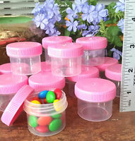 12 Jars Holds 1 ounce to the top Plastic Container PINK Caps Lids Tops 4304 USA