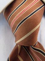 Men's Oleg Cassini by Burma Brown Striped Silk Tie A25891