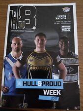 Hull FC rugby 18th on programmes vs Leeds Rhinos Hull & Proud week 2017 14/04/17