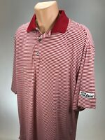 Footjoy Titleist L Golf Polo Mens Shirt Podry Isle Size Large Red White Stripes