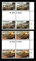 St Helena, Sc #376-77, Gutter blocks, MNH, 1982, Commonwealth Games, A-A