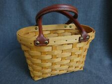 New ListingLongaberger Small Boardwalk Basket with Leather Handles 2001 Euc