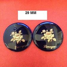 LIMOGES 2 PLAQUES PORCELAINE 29 mm FOND BLEU DE FOUR DECOR ROSE  DECOR OR 24 K