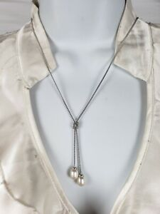 EUC Sterling Silver Signed 925 Lariat Necklace with Freshwater Pearls Dangle