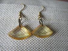 bead earrings - pierced ears Handmade clear with amber tinge triangular