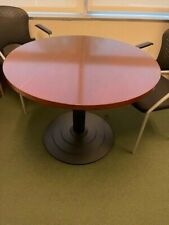 Used 36 Round Conference Table In Cherry Laminate Top Amp Black Metal Base