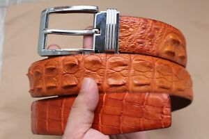 "W 1.5"" Orange Genuine Crocodile Leather Skin MEN'S BELT - Without Jointed"