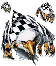 Aufkleber Set Adler mit Siegesflagge Checkered Eagle Sticker 12x16cm Airbrush