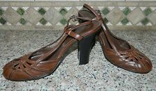 Miss Bison women's Brown Strappy Back Heels Shoes* 6.5