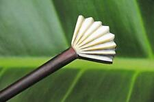 Carved Fan SHELL wooden HAIR JEWELRY STICK PICK or SHAWL PIN handmade Sono wood