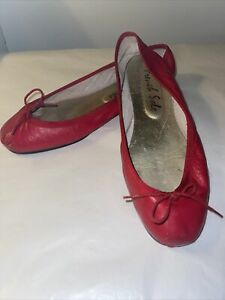French Sole Red Leather Ballet Pumps Size 41 (8)