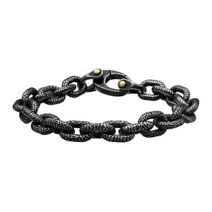 """INOX 316L Stainless Steel Oxidized Antique Textured Cable Link Bracelet 8.25"""""""