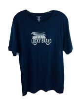 Lucky Brand Mens Sleepwear Short Sleeve Logo Surfing XL Blue Indigo