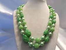 (HONG KONG) Vintage Double-Strand Shades GREEN Pearl & Lucite Necklace 15N557