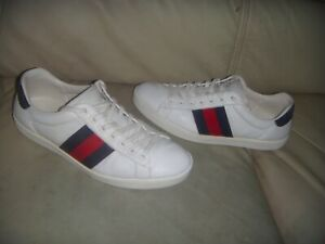 GUCCI ACE LEATHER  BLUE AND RED STRIP LACE UP SNEAKERS SIZE 7.5 ITALY