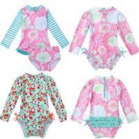 UPF50+ Rash Guard Shirt Swimsuit Baby Girls Bathing Swimwear Tankini Beachwear
