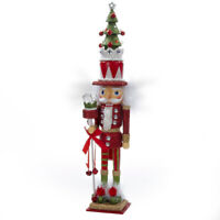 Hollywood Red and Green Christmas Tree Hat Wooden Nutcracker 15 Inch