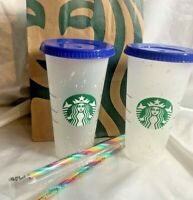 Set of 2 Starbucks Color Changing Reusable Confetti Cold Cup w/ Rainbow 🌈 Straw