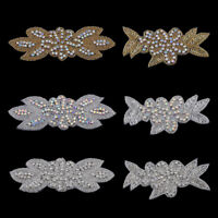 2PCS Handmade Bling Sew On Hot Fix Beaded Crystal AB Rhinestone Applique