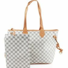 Women Beige Check Hand Bag Shoulder Messenger Tote Ladies Crossbody Satchel 861