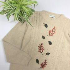 2001 Autumnal Leaf Nature Print Cable Knit Jumper - Beige Fleck - Size Large