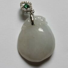 100% Natural (Grade A) Untreated Icy White Jadeite JADE Peach Pendant #P422