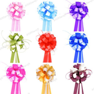 """Large 7"""" Multi Colour Pompom Ribbon Pull Bows Wedding Party Decoration Gift Wrap"""