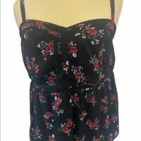 Torrid Spaghetti Strap Black Floral Sleeveless Dressy Tank Top Blouse Size Small