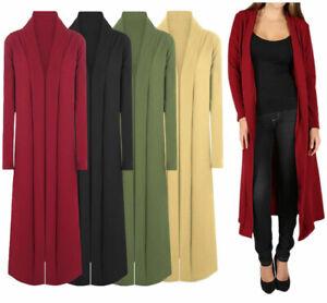 Women Long Sleeve Plain Lace Open Front Crepe Cardigan Ladies Casual Duster Coat