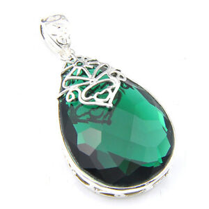 Holiday Jewelry Gift Green Emerald Gemstone Silver Drop Necklace Pendant 2 Inch